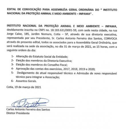 Edital de convocação para assembleia geral ordinária do Instituto Nacional da Proteção Animal e Meio Ambiente - INPAMA