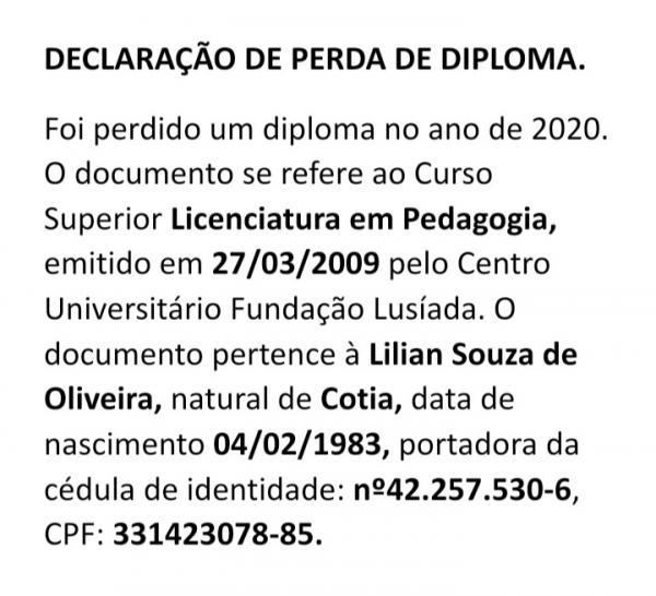 Declaração de perda de diploma