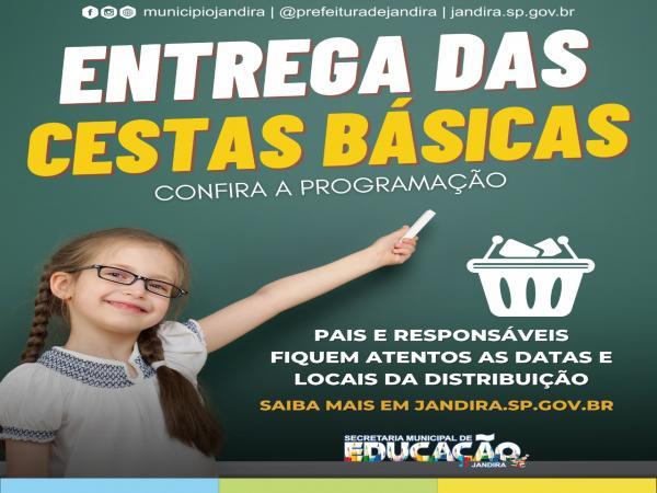 Secretaria da Educação de Jandira começa distribuição de cestas básicas, com itens da merenda escolar, a partir da próxima terça, dia 22 de Junho