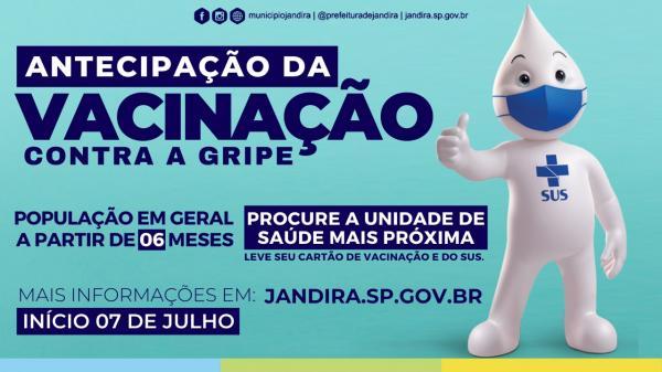 Prefeitura de Jandira antecipa vacinação contra a gripe, para pessoas com idade acima de 6 meses