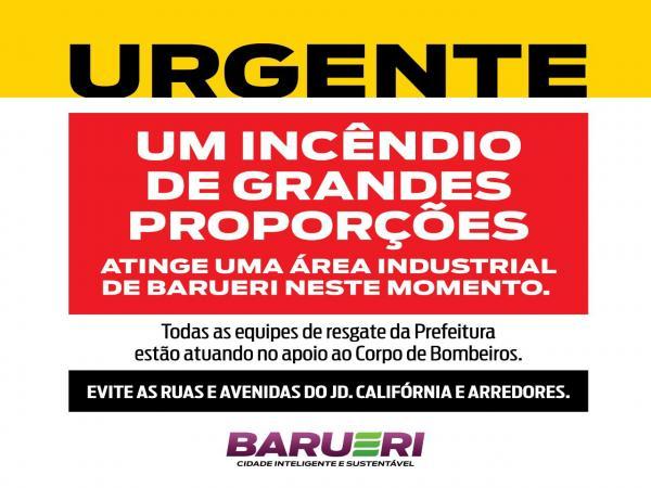 Incêndio de grandes proporções em Barueri deixa vítimas