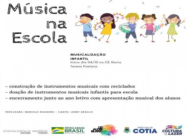 Alunos da creche do Jardim Cláudio participarão do projeto 'Música na Escola'